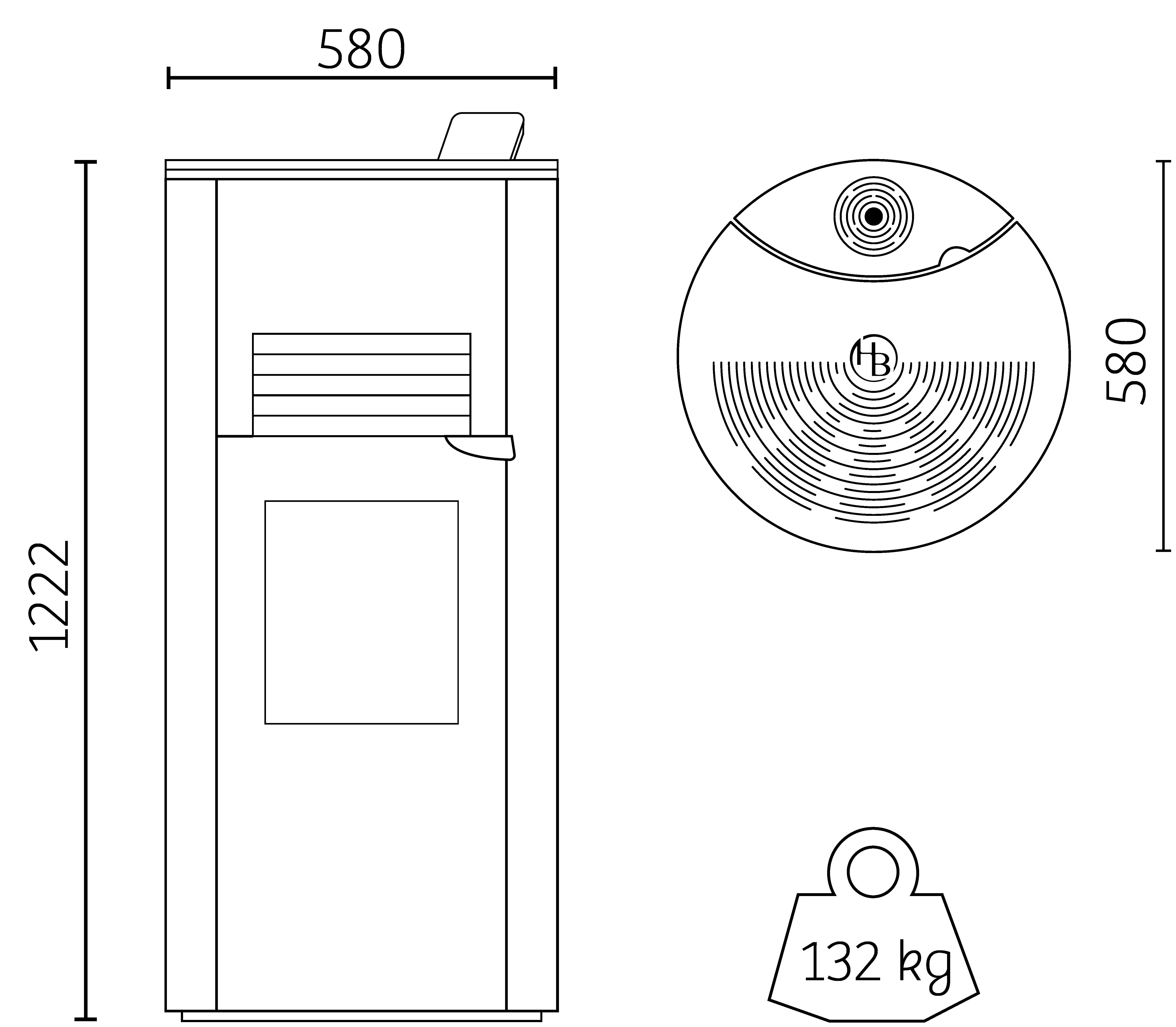 dimensions poêle à granulés H6 Eclipse Hoben