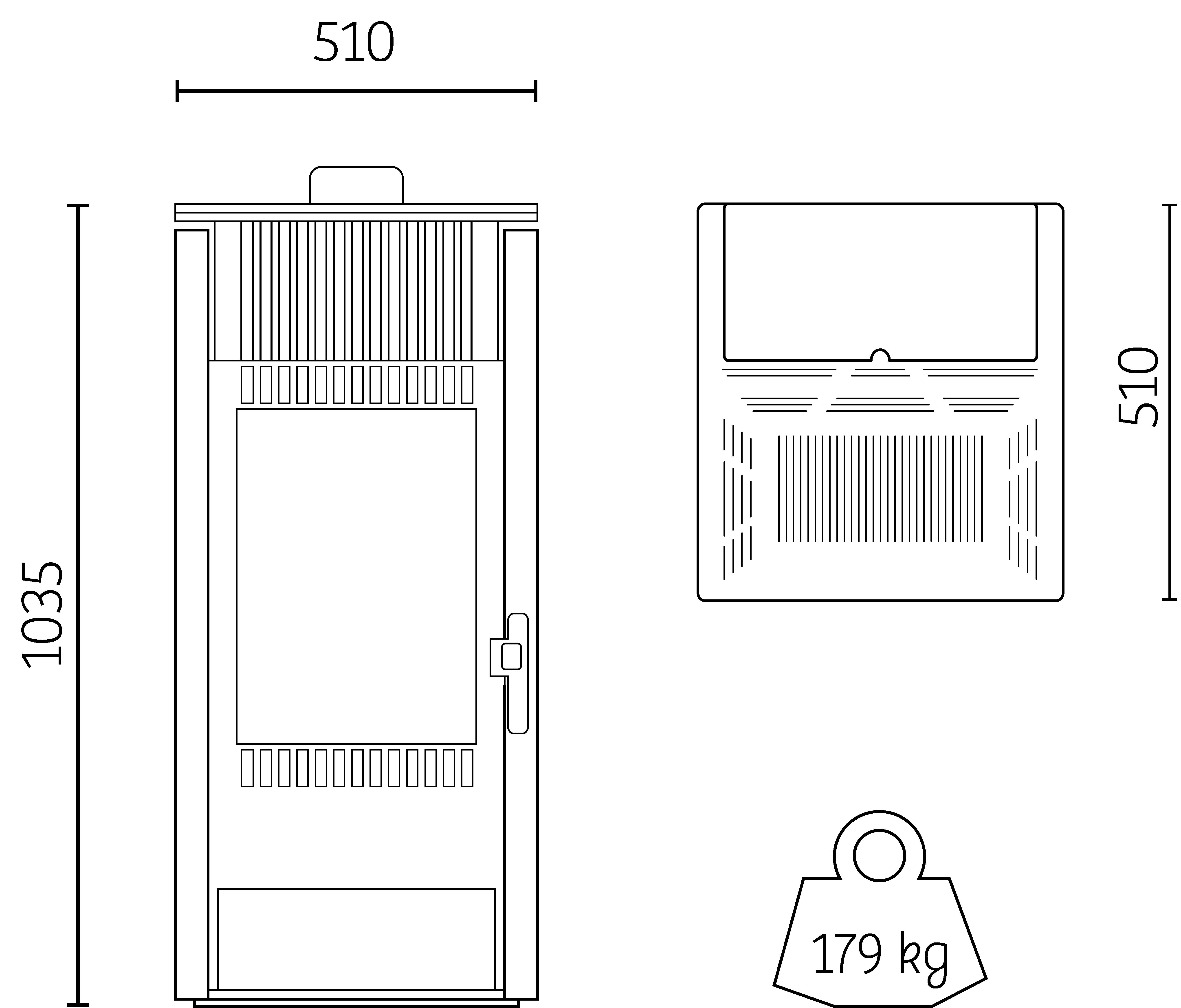 dimensions poêle H7 tout pierre Hoben