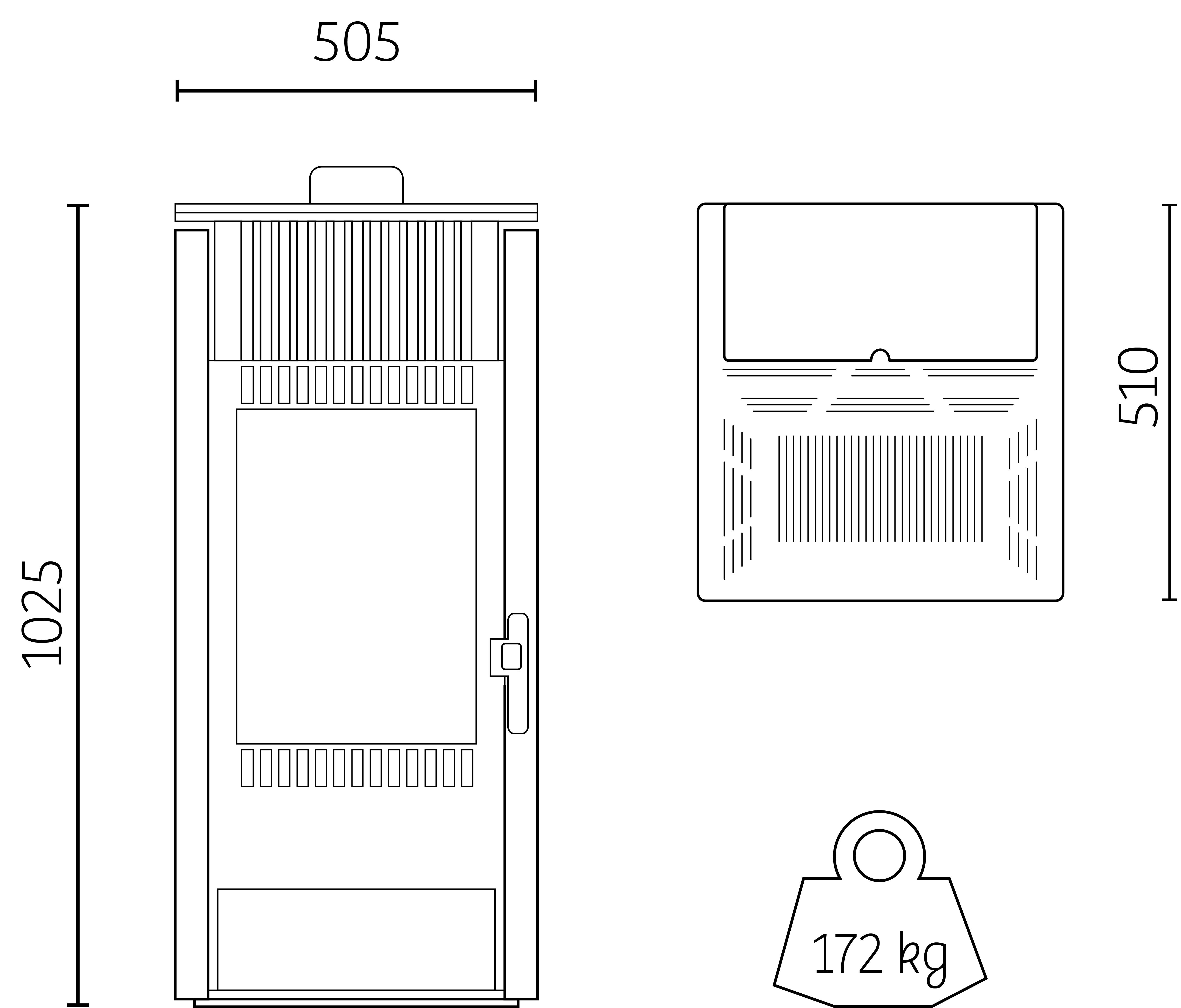 dimensions poêle granulés H7 Zen Noir Intense Hoben