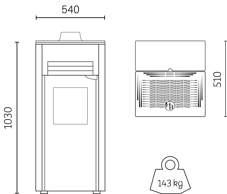 poêle à granulés design béton HOBEN H7